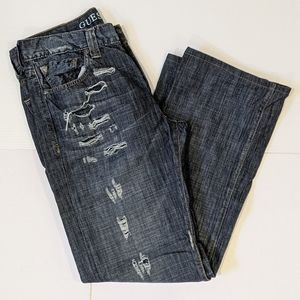 Guess men's distressed Relaxed fit jeans sz 33